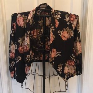 Black cropped floral blazer